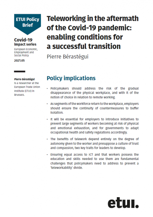 Vignette document Teleworking in the aftermath of the Covid-19 pandemic. Enabling conditions for a successful transition
